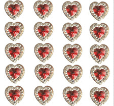 40 SELF ADHESIVE RED HEART & CLEAR RESIN DIAMANTE RHINESTONES GEMS.12 X 10MM