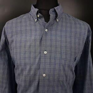 Polo-Ralph-Lauren-Mens-Vintage-Shirt-3XL-Long-Sleeve-Blue-Check-Cotton-McMEEL
