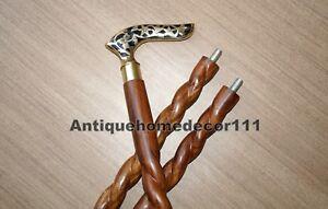 Designer Vintage Walking Stick Brass Handle Twist Cane Brown Wooden Item Gift Produits De Qualité Selon La Qualité