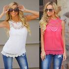 Hot Women Lady Loose Casual Chiffon Sleeveless Lace Vest Shirt Tops Blouse S-3XL