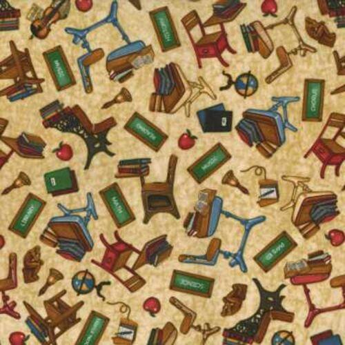 RJR Making the Grade by Dan Morris 1936 001 Cream Desk Toss BTY Cotton Fabric