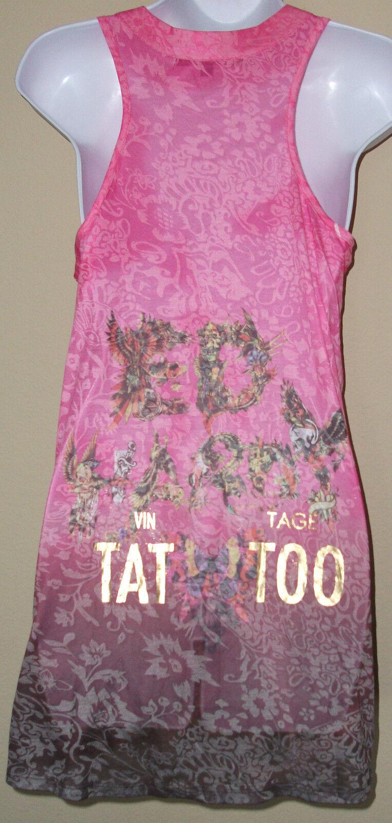 NWT Genuine ED HARDY by CHRISTIAN AUDIGIER sleeveless sleeveless sleeveless pink mini dress,size S 28422a