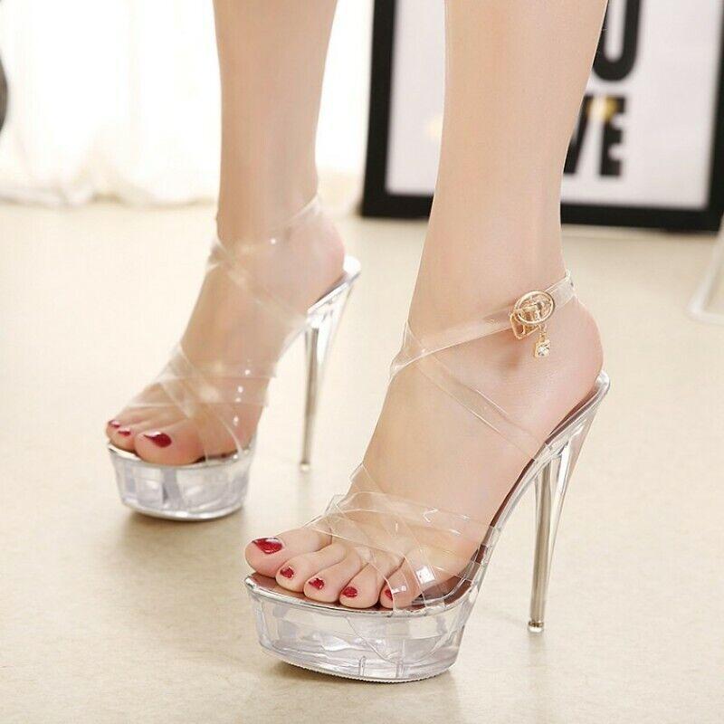 Transparent shoes Clubwear Womens Stilettos Heel Ankle Strap Strap Strap Platform Haihk 60a490