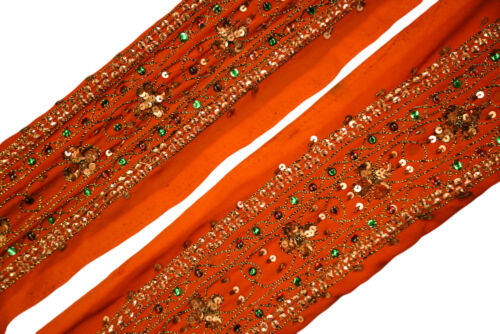 Vintage Indian Sari Border Used Trim 1 Yd Women Antique Sari Trim Ribbon ST2055