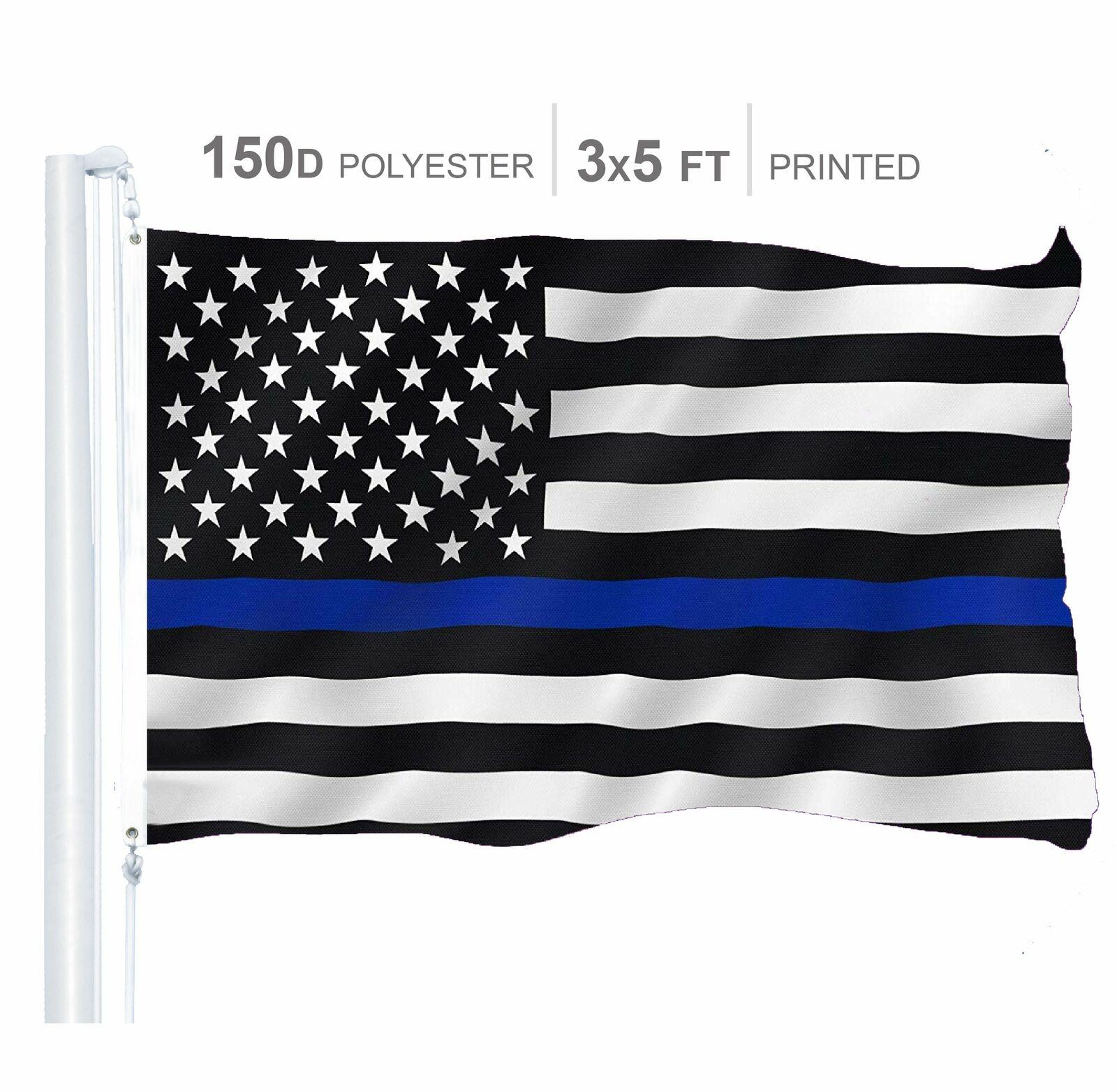 Blue Line American Flag 3X5 Foot Honor Police Durable Heavy Duty Nylon Outdoors