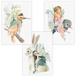 Details zu 3er Set Wandbilder Baby Kinderzimmer Poster A4 W03 Phantasy  Vogel Hase Mädchen