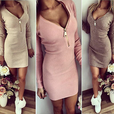 Sexy Women V Neck Long Sleeve Fall Bodycon Cocktail Party Club Evening Top Dress