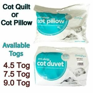 New Anti-Allergy Cot Bed Duvet & Cot Pillow Nursery Baby Toddler Bedding All Tog