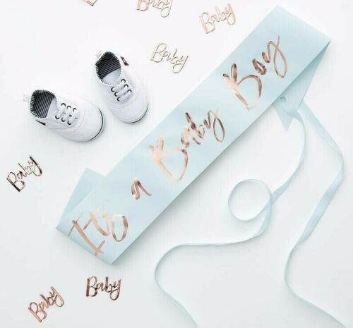 Blue It's a Baby Boy Sash Rose Gold Oh Baby Baby Shower Party Favour Accessories