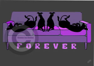Greyhound-Whippet-on-Forever-Sofa-Art-Print-A4-A3-Purple-Sofa-Mothers-Day-Gift