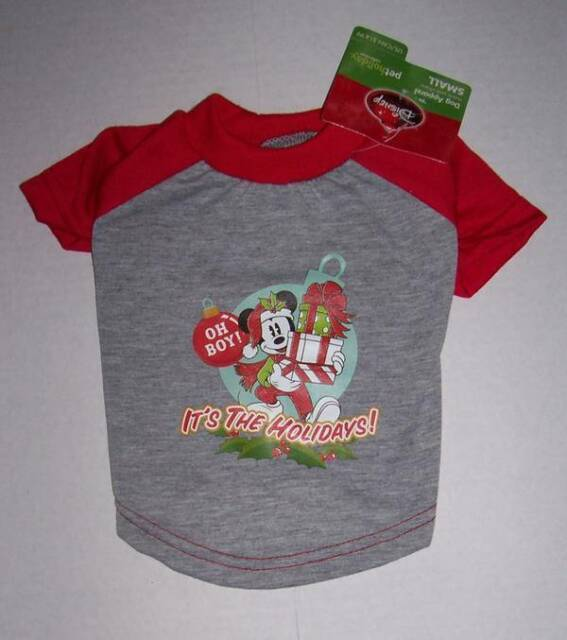 nwt disney mickey mouse pet dog christmas shirt small