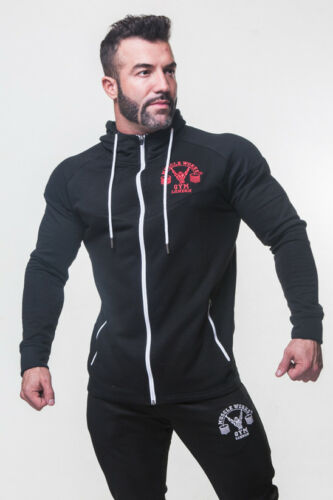 Mens Muscle WORKS  Gym Fitted Pull Over Training Top Hoodie Fitness Sweatshirts