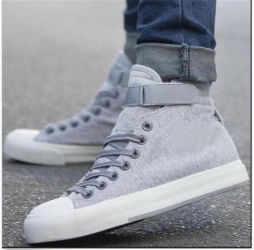 Mens Casual Fashion Canvas Buckle High Top Sport Sneakers Athletic Running Shoes