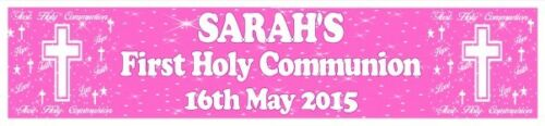 "Personalised Girl Communion Banner Design 4 21 x 90cm // 8/"" x 36/"""