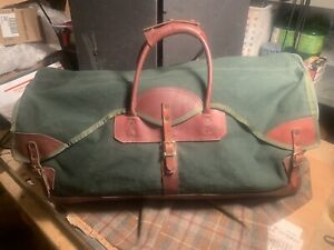 Orvis-Large-Duffel-Bag-Canvas-Leather-Vintage-Very-Nice-28-Long-USA-Made