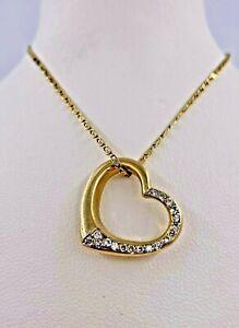 14K/585 Gelbgoldener Herz Anhänger Collier mit 0.36ct Diamanten