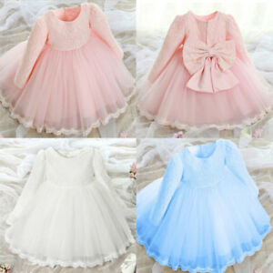 651383dc92160 Details about Toddler Girls Long Sleeve Lace Flower Pageant Wedding Party  Princess Tutu Dress