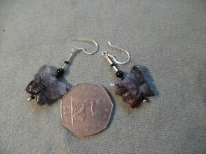 BUTTERFLY BLACK MARL AGATE BEAD EARRINGS SILVER 925 HOOK FITTING - <span itemprop=availableAtOrFrom>EXETER, Devon, United Kingdom</span> - BUTTERFLY BLACK MARL AGATE BEAD EARRINGS SILVER 925 HOOK FITTING - EXETER, Devon, United Kingdom