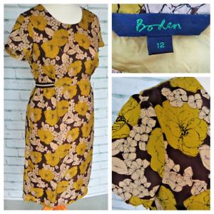 BODEN Silk Blend Midi Dress Sz 12 Mustard Yellow Straight Shift Summer   b38