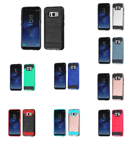 For Samsung Galaxy S8 Brushed Rugged Hybrid Phone Protector Hard Case Cover