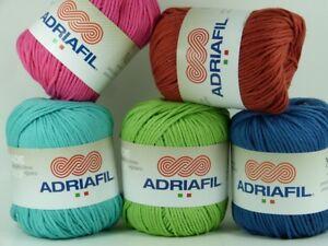 Adriafil-Nature-50g-Aran-weight-100-pure-Egyptian-Cotton-yarn-VARIOUS-SHADES