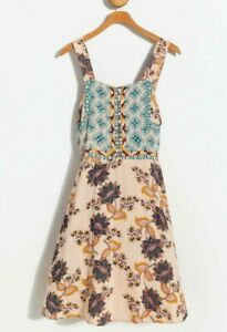 NWT-Angie-Cream-Boho-Floral-Print-Mini-Midi-Summer-Sun-Beach-Fall-Dress-S-M-L