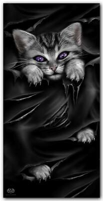 Spiral Bright Eyes Kitten Beach Towel Cute Gothic Cool Gift Purple Eyes Cat