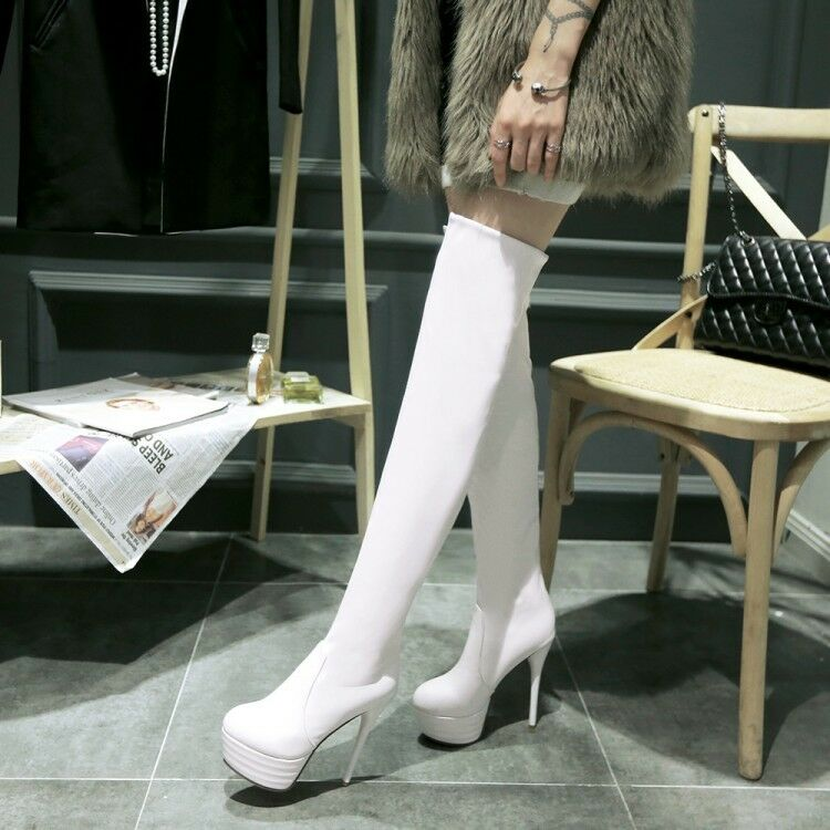 Women Knee High Boots Zip Platfrom Synthetic High Stilettos Heels Fashion shoes