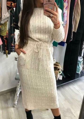 Women Ladies Cable Knitted Pocket Long Sleeve Tie Up Midi Party Jumper Dress Top