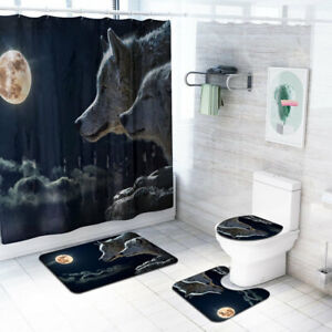 4Pcs-Sets-Bathroom-Set-Rug-Toilet-Lid-Cover-Bath-Mat-Shower-Curtain-Animal-Print