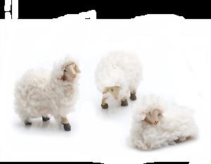 Figurines de Crèche Mouton Wollschafe Env 5 cm Miniatures Blanc Beige