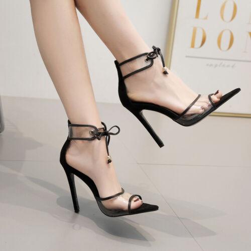 Cm Stiletto 1567 Eleganti 12 Spillo Sandali Pelle Nero Simil Trasparente 1Ezgd44wfq