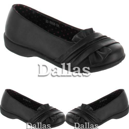 GIRLS SCHOOL SHOES LADIES PARTY FORMAL EVENING CASUAL BALLERINA BLACK SHOES SIZE