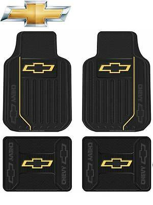 4 Pc Chevrolet Chevy Elite Front/Rear Rubber Floor Mats With Logo Fast Shipping