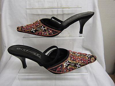 Señoras tópica (spot-on) Mula Tacón Sandalia Negro Multi Superior ahoo91
