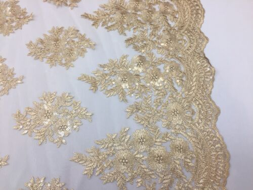 Sequins Lace Bridal Mesh Wedding Gold Embroidered Fabric By The Yard