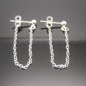 Image Is Loading 925 Sterling Silver Ball Stud Dangle Chain Earring