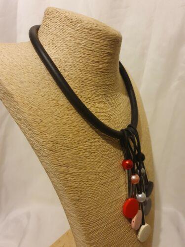 Womens Ladies Statement Unique Unusual Quirky Black Multi Coloured Bib Necklace