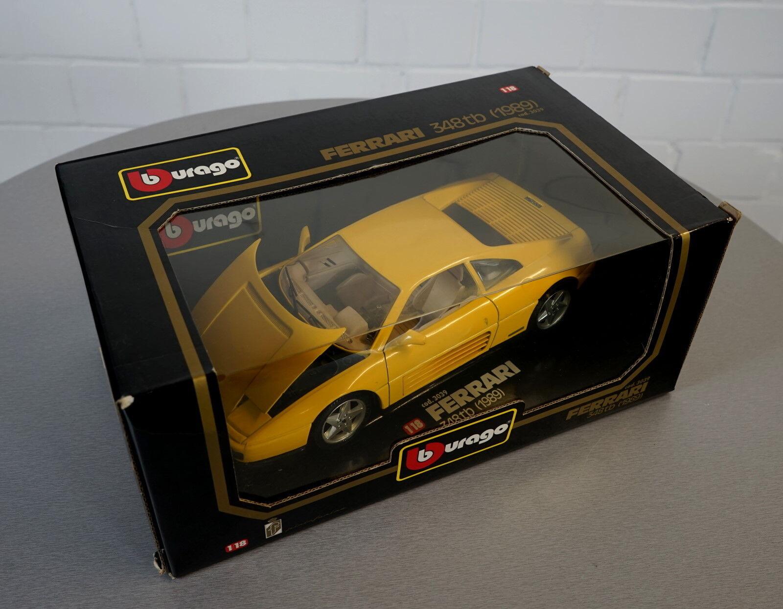Burago 1 18 18 18 Ferrari 348tb (1989) yellow - 3039 - DieCast Scale Modell Auto NEU OVP 7a0146