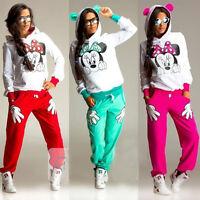 Minnie Trainingsanzug 2 Teilig Damen Kapuze Pullover Hose Jogginganzug Hausanzug
