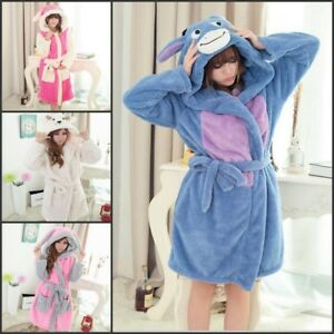 Image is loading Women-Bathrobe-Dressing-Gown-Soft-Coral-Fleece-Anime- 5af567677