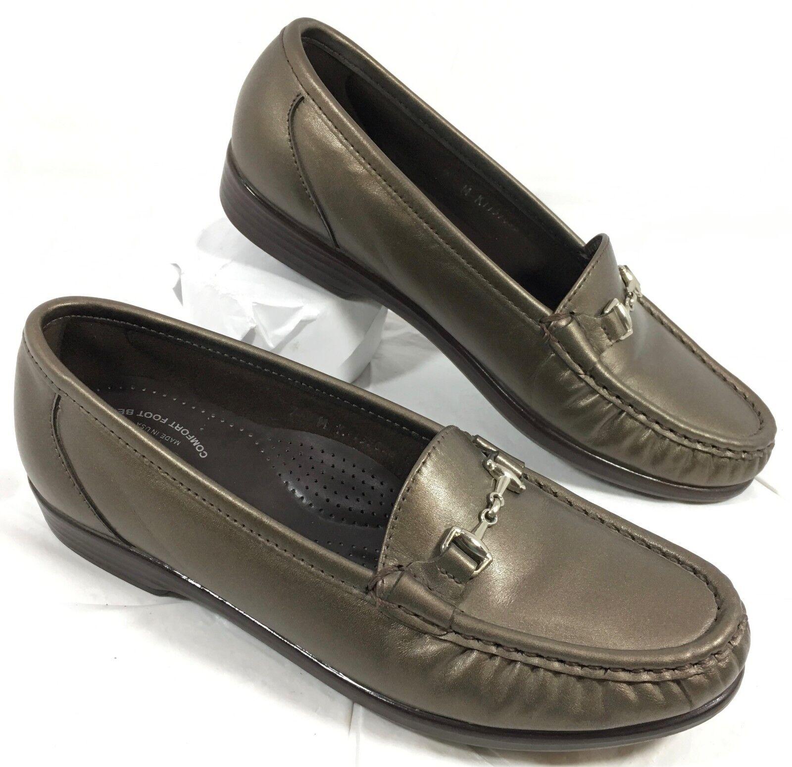 GUC Women's SAS METRO Bronze brown Leather Loafers M w/ Bit Sz 7 M Loafers 8f5e22