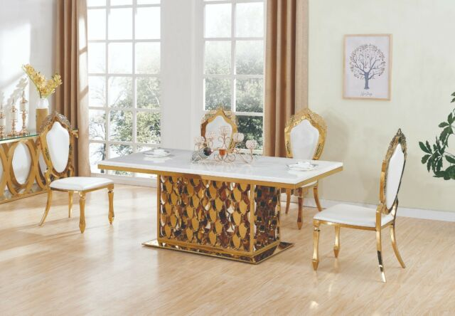 2134d156e1fe ELEGANT STUNNING MAGESTRO GOLD DINING TABLE FURNITURE NEW MARBLE TOP   8  CHAIRS
