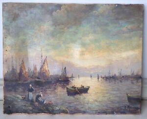 Tableau-ancien-Marine-Bretagne-Retour-de-Peche-Huile-Toile-signee-Robert-Mogisse