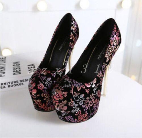 Ladies Womens Platform Pumps Slip On Mixed Color Floral Metal High Heel Stiletto