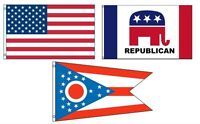 3x5 American & Republican & State Of Ohio Wholesale Set Flag 3'x5'