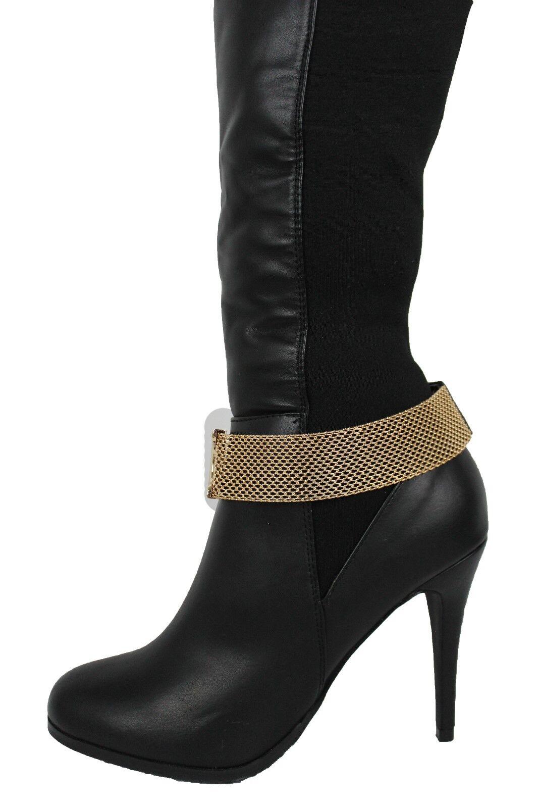Women Western Boot Bracelet Gold Mesh Metal Chain Shoe Anklet Bling Strap Charm