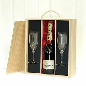 Image is loading Moet-et-Chandon-Champagne-With-Flutes-Wooden-Gift-