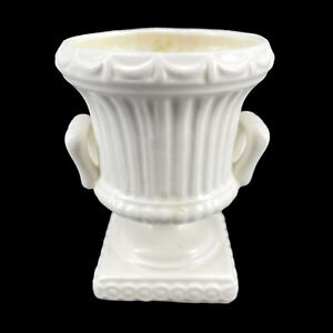 Vintage Glazed White Ceramic Two Handled Pedestal Urn Planter Flower Vase