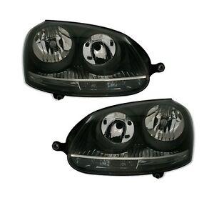 2 feux phare avant fond noir pour vw golf 5 ebay. Black Bedroom Furniture Sets. Home Design Ideas
